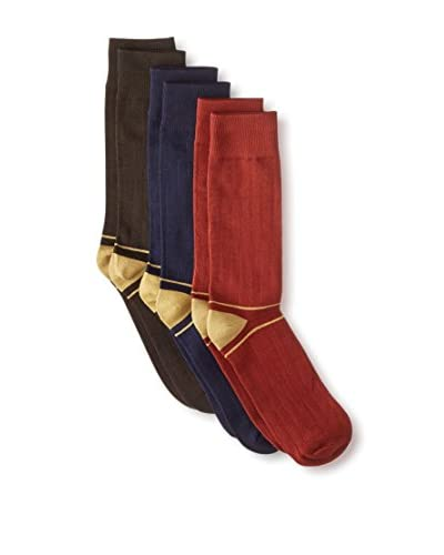Florsheim by Duckie Brown Men's Vertical Stripe Socks - 3 Pack