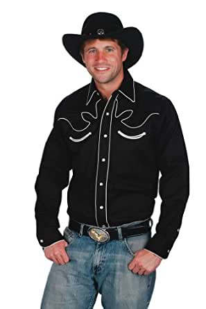 Mens 100% Cotton Retro Western Cowboy Shirt-Black-Small