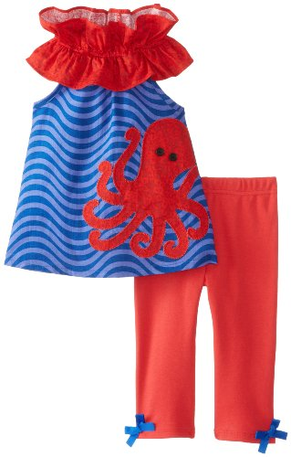 Mud Pie Little Girls' Octopus Tunic And Legging, Red/Blue, 2T front-557006