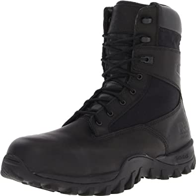 Timberland PRO Valor Men's Mcclellan 8 Inch Side Zip Work Boot,Black Leather,5 W US