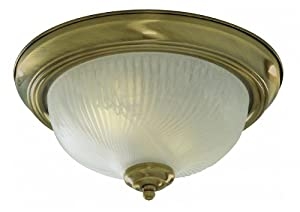 Antique Brass Finish Flush Ceiling Light, 7622-11AB by Searchlight