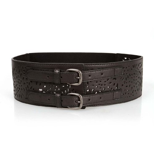 BMC Womens Double Buckle Style Thick Wide Elastic Black Cut Out Faux Leather High Waist Fashion Belt