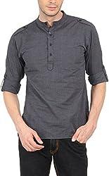Svanik Men's Cotton Kurta (SVCK1357L, Dark Grey, L)