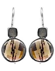 Exotic India Faceted Smoky Quartz Earrings - Sterling Silver - B00HL00YWQ