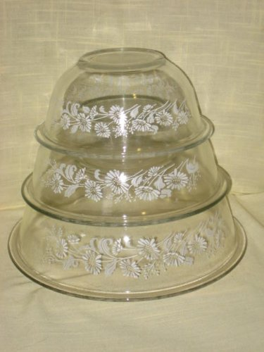 SET OF 3 - Vintage Pyrex Clear Nesting Batter Bowl w/ White Flower Pattern - 1 Liter, 1.5 Liter & 2.5 Liter