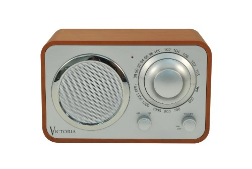 Grace Digital GDI-LD3AA Victoria Large Dial AM/FM Desktop and Portable Radio - Light brown
