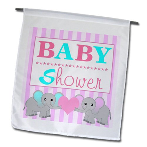 3Drose Fl_57085_1 Baby Shower Cute Twin Elephants Pink And Blue Garden Flag, 12 By 18-Inch