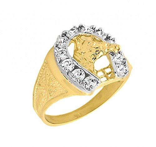 Solid 10K Yellow Gold Men'S White Topaz Lucky Horseshoe Ring