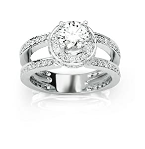 Halo Style Double Row Pave Set Split Shank Round Cut Diamonds Engagement Ring with a 0.7 Carat Round Brilliant Cut I Color SI2 Clarity Independently Appraised Center Stone and 0.85 Carats of Side Diamonds (1.55 Cttw)