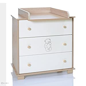 Baby changing chest bear nursery furniture changer unit Nursery chest of drawers with changer
