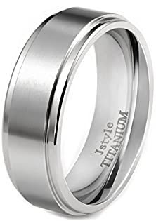 buy Jstyle Jewelry Titanium Rings For Men Wedding Band Cool 8Mm Unique Male Ring Size 9