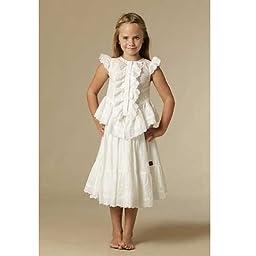 KidCuteTure Designer Girls 2T White Ruffle Evelyn Top Skirt Outfit
