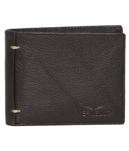 VERMELLO Men's Coffee Brown Textured Leather Wallet - 23 x 9 cm (multicolor)
