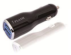 iFlash Dual USB Car Lighter Charger Adapter with 10w (fast) Heavy Duty Ouput for iPhones, Samsung Galaxy, Blackberry...
