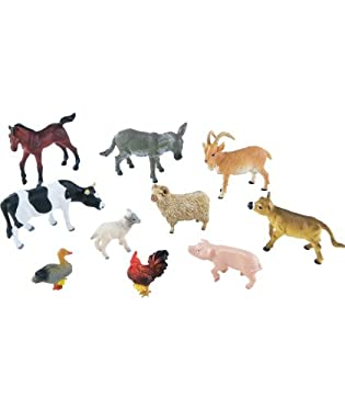 Set of 10 plastic farm animals to play with  Star buy - this set FREE when you buy Farmyard Playset (available while stocks last)  Suitable from 3-8yrs