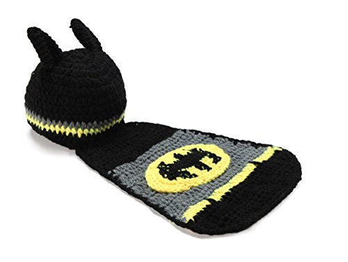 Rush Dance Super Hero Yellow Black Beanie Photo Prop Costume Hat (Batbaby)