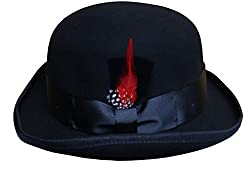 Men's 100% Soft & Crushable Wool Derby Bowler Hats W/Feather HE45 (S/M)