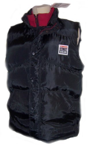VISION STREET WEAR HERREN GILET MENS GILET PADDED BODYWARMER BLACK FULL ZIP TOP SIZE SMALL (Small)