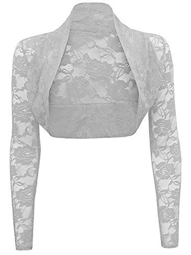 Ladies Long Sleeve Lace Cropped Bolero Shrug Cardgian Top One Size (One Size Regular(8-14