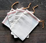 Cotton Muslin Bags 6x8 inches Red Hem Orange Drawstring 100 count pack