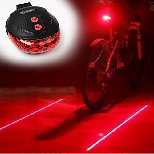 Bicycle Cycling Laser Tail Light 2 Laser & 5 LED 7 Modes Mountain Bike Safety warning Flashing Lamp Alarm Light Back Rear Led (2 Laser 7 Led)
