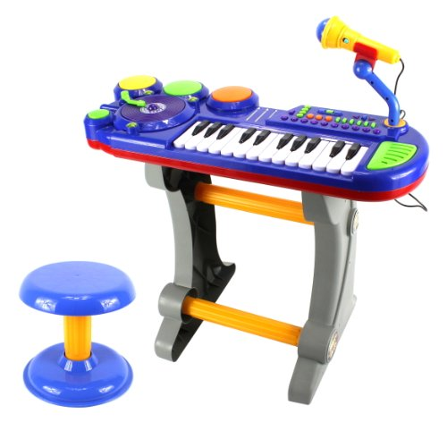 Lil Dj Sound Synthesizer Children'S Musical Instrument Toy Keyboard Play Set, 24 Key Piano W/ Dj Turntable, Drum Buttons, Microphone, Stool (Blue)