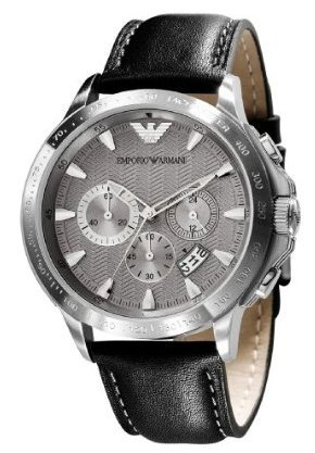 Emporio Armani Quartz, Gunmetal Gray Dial with Black Leather Band - Men's Watch AR0635