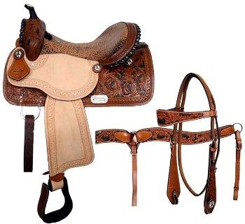 Double T Floral Tooled Barrel Saddle Set