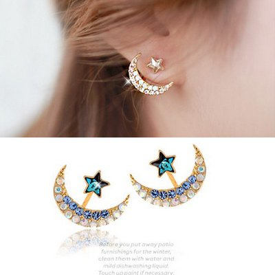 Jewelry of the Rhinestone Star Earrings Moon Pentacle Pendant Stud Earrings