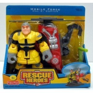 Buy Low Price Fisher Price Rescue Heroes Mobile Force – Hal E. Copter & Copter Figure (B000DZICT8)