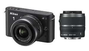 Nikon 1 J2 Kit compact hybride 10,1 Mpix + Objectif 1 Nikkor VR 10-30 mm f/3.5-5.6 + 1 Nikkor VR 30-110 mm f/3.8-5.6 Noir Mat