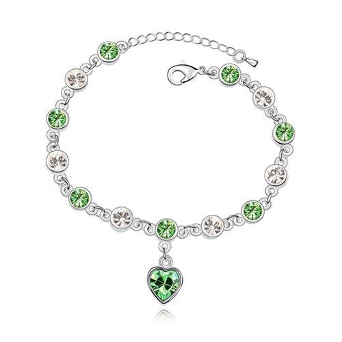 rarelove-peridot-green-retro-heart-swarovski-elements-crystal-white-gold-plated-chain-bracelets