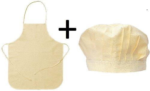 Latzschürze / Kochschürze mit Kochmütze verstellbar aus Baumwolle der ideale begleiter für die kleinen Kochprofis – zum selber bemalen geeignet jetzt kaufen