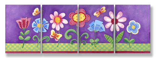The Kids Room by Stupell Flower Garden on Purple Background 4-Pc. Rectangle Wall Plaque Set