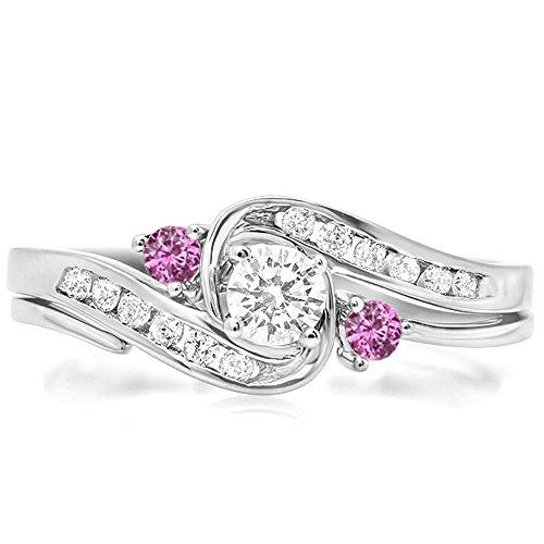 0.50 Carat (Ctw) 14K White Gold Round Pink Sapphire & White Diamond Swirl Engagement Ring Set (Size 8)