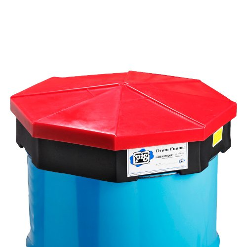 """New Pig DRM454 LDPE Drum Funnel with Black Detached Cover, 23-3/4"""" Diameter x 6"""" Height, Red, For 55 Gallon Tight-Head, 30 Gallon Tight and Open-Head Steel Drums"""