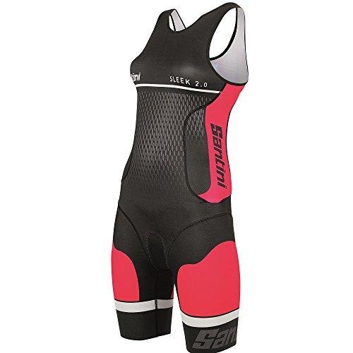 Santini Sleek 2.0 Body Triathlon Donna, Rosso, L