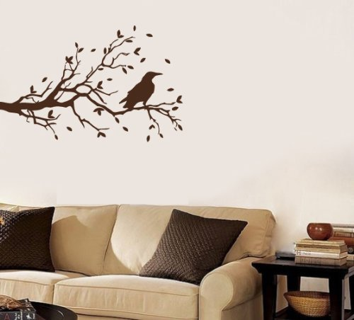Housewares Vinyl Decal Autumn Tree Branch With Raven Bird Home Wall Art Decor Removable Stylish Sticker Mural Unique Design For Nursery Room front-157425