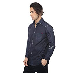 Apris Mens F/Slv Satin Shirt-NAVY (S-3208) (XL)