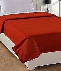 Warmland Fleece Solid Polyester Single Blanket - Brown