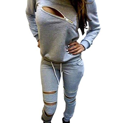 Baymate Donna Tute da Ginnastica Felpe Sportive Cerniera + Pantaloni Jogging 2 Pezzi Grigio Chiaro S