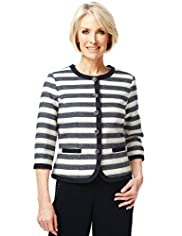 Classic Collection Cotton Rich Textured Striped Jacket