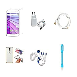 High Quality Combo of Moto G3 Temper Glass + 2 Amp USB Charger + Fast Charging Cable + Attractive Back Cover (Transparent Back with Golden Border) + 4 in 1 USB Charging Cable