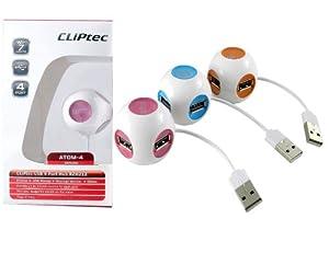 CLiPtec 4 Port Atom 2.0 Bus Powered Hub - Pink