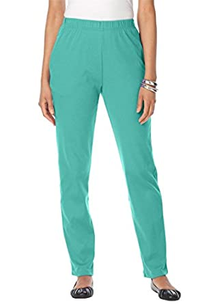 Roamans Women's Plus Size Classic Soft Knit Pants (Aquatic Green,M)