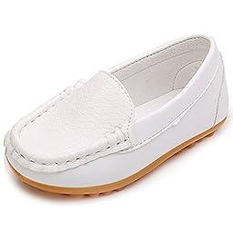 LONSOEN Toddler/Little Kid Boys Girls Soft Split Leather Loafer Slip-On Boat-Dress Shoes/Sneakers,White,11 M US Little Kid