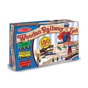 Melissa and Doug Deluxe Wooden Railway Set