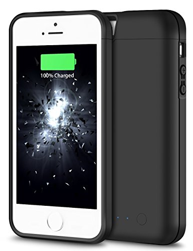 iPhone 5S Battery Case, iPhone 5 Battery Case, HoneyAKE 4000mAh Portable Charger iPhone 5 External Battery Protective Charging Case Backup Pack Cover Juice Power Bank for iPhone 5S/5- Black (Iphone Battery Case 5 compare prices)
