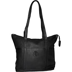 NHL Black Leather Ladies Tote by Pangea Brands