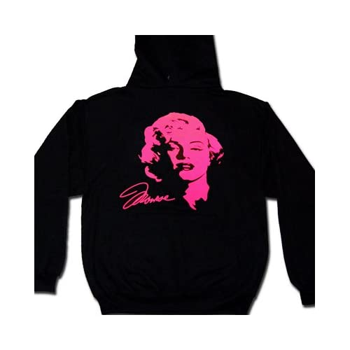 Marilyn Monroe and Signature In Pink Neon Hooded Mens